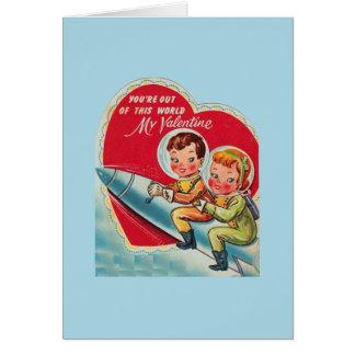 Retro Astronaut Rocket Valentine's Day Card