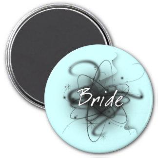 Retro Atomic Bride - Black & White 7.5 Cm Round Magnet