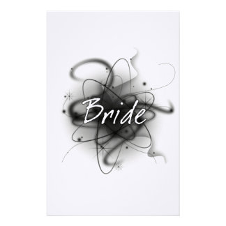 Retro Atomic Bride - Black & White Personalized Stationery