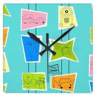 Retro Atomic Kitsch Acrylic Wall Clock