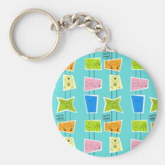 Retro Atomic Kitsch Button Keychain