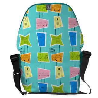 Retro Atomic Kitsch Rickshaw Messenger Bag