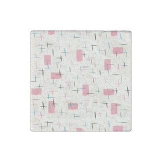 Retro Atomic Pink Pattern Marble Magnet