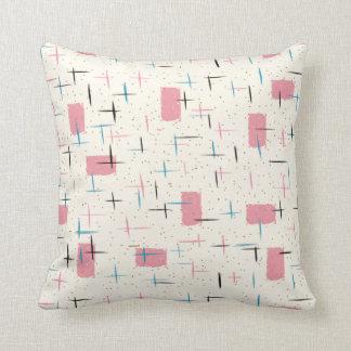 Retro Atomic Pink Pattern Throw Pillow
