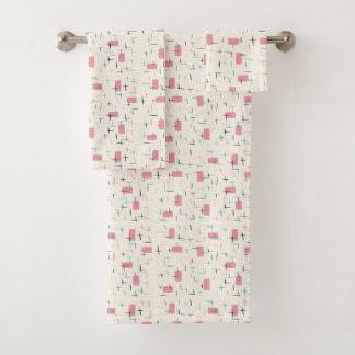 Retro Atomic Pink Pattern Towel Set