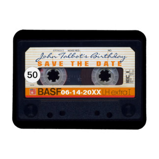 Retro Audiotape 50th birthday Save the date Magnet