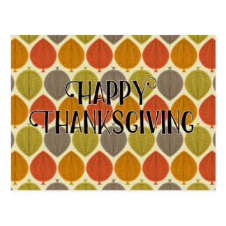 Retro Autumn Leaves Design Happy Thanksgiving Postcard