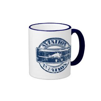 Retro Aviation Art Ringer Mug