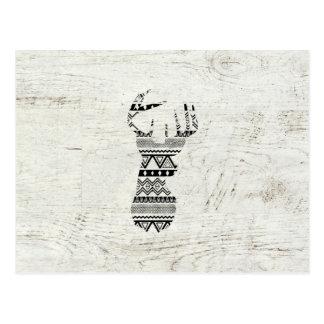 Retro Aztec Deer Head Black White Vintage Wood Postcard