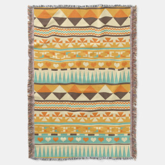 Retro Aztec Pattern Print Throw Blanket