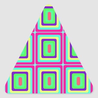Retro baby blue pink and yellow squares triangle sticker