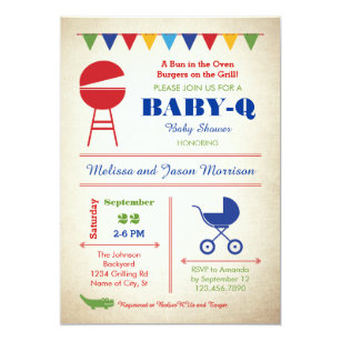 Retro Baby Q Baby Shower Invitation