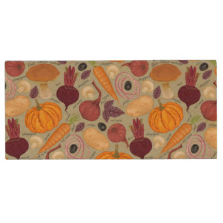 Retro background from fresh vegetables wood USB 2.0 flash drive