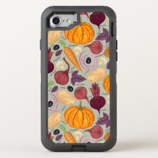 Retro background from fresh vegetables OtterBox defender iPhone 7 case