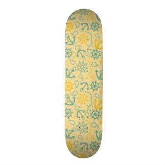 Retro background with anchor, ropes skate deck