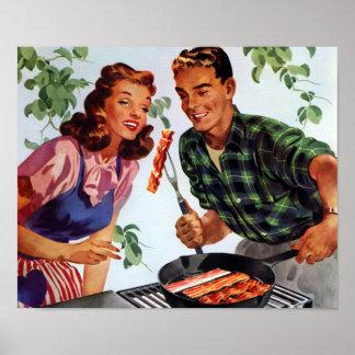 Retro Bacon Barbeque Poster