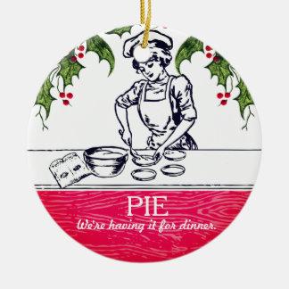 Retro baker pie for dinner Christmas ornament