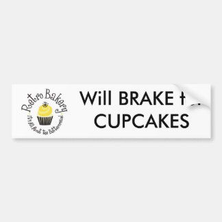 Retro Bakery Will BRAKE for CUPCAKES bumper sticke Bumper Sticker