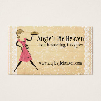 retro baking pie girl carrying bakery pie business card