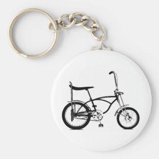Retro Banana Seat Bike Basic Round Button Key Ring