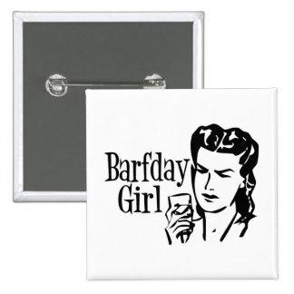 Retro Barfday Girl - Black White Pinback Buttons