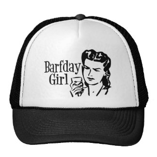 Retro Barfday Girl - Black & White Trucker Hats