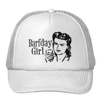 Retro Barfday Girl - Black & White Mesh Hats