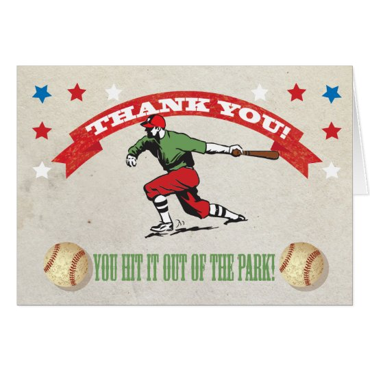 Retro Baseball Birthday Party Thank You Note Cards