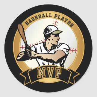 Retro Baseball Player Round Sticker