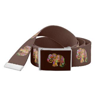 Retro batik tribal ornamental elephants belt