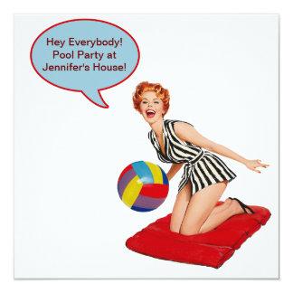 Retro Beach Ball Pool Party 13 Cm X 13 Cm Square Invitation Card