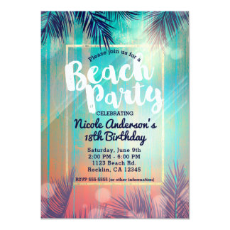 Retro BEACH PARTY Sunny Palm Trees Summer Birthday Card