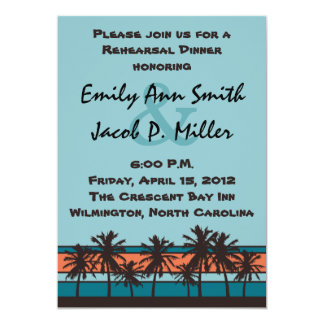 Retro Beach Rehersal Dinner Invitations