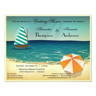 Retro Beach Scene Wedding Shower Invitation