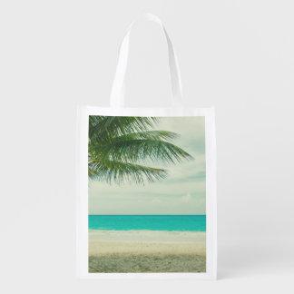 Retro Beach Theme Reusable Grocery Bag