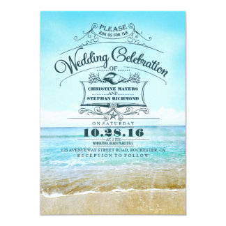 Retro beach wedding invitations blue ombre seaside