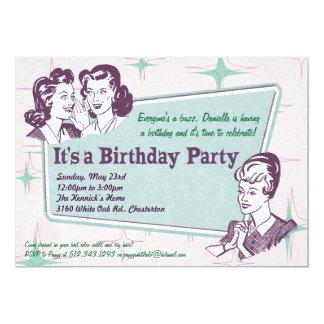 Retro Beehive Hairdo- Birthday Invitation