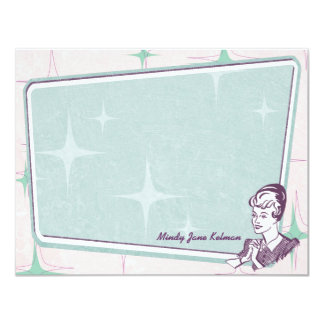 Retro Beehive Hairdo Personalized Flat Note Cards 11 Cm X 14 Cm Invitation Card