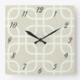 Retro Beige Geometric Square Wall Clock