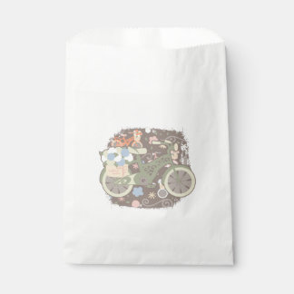 Retro Bicycle and Flowers Favour Bag