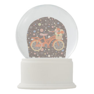 Retro Bicycle and Flowers Snow Globe