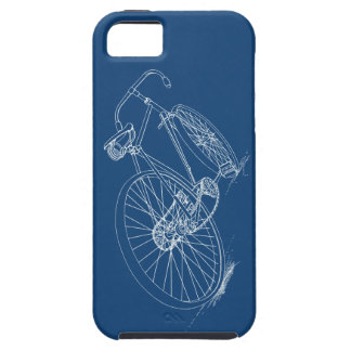 Retro Bicycle drawing, Navy Blue & White Case For The iPhone 5