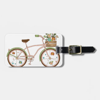 Retro bicycle with karzinkoy for flowers luggage tag