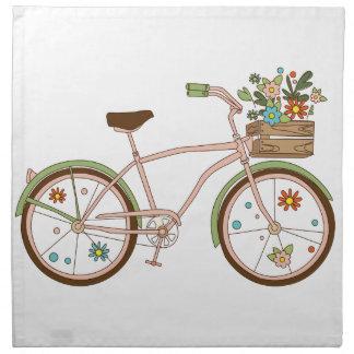 Retro bicycle with karzinkoy for flowers napkin