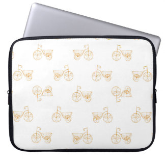 Retro Bicycles Motif Vintage Pattern Laptop Sleeve