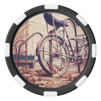 Retro bike poker chips set