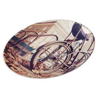 Retro bike porcelain plates