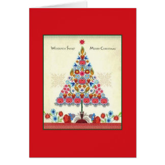 Retro Bilingual Polish American Christmas Card