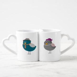 Retro Bird Love Couple Cartoon Cute Old Fashion Coffee Mug Set