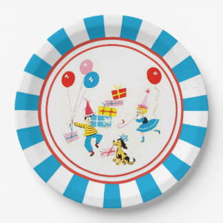 Retro Birthday Candle Paper Plate 9 Inch Paper Plate